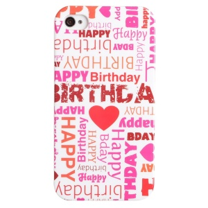LOFTER Fresh Series IMD Plastic Back Cover for iPhone 4 4s - Happy Birthday Letters