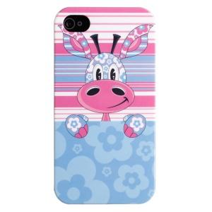 LOFTER Cartoon Series IMD Plastic Back Case for iPhone 5 5s - Cute Giraffe & Blue Flowers