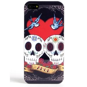LOFTER Skull Series for iPhone 5 5s IMD Plastic Hard Shell - Love Skull Couple