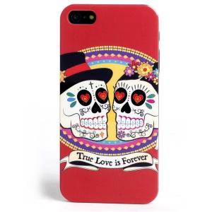 LOFTER Skull Series for iPhone 5 5s IMD Plastic Case - True Love is Forever Skull Couple