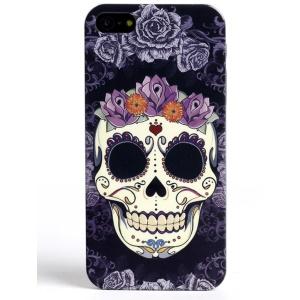 LOFTER Skull Series IMD Hard Phone Cover for iPhone 5 5s - Purple Flowered Skull
