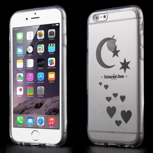 Moon & Stars & Hearts Clear Acrylic and TPU Edges Hybrid Cover Shell for iPhone 6