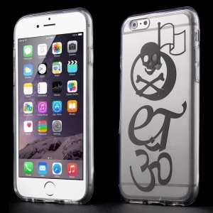 Cool Skull Clear Acrylic and TPU Edges Hybrid Cover for iPhone 6 Plus