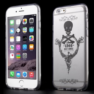 Cool Skull & Flora Clear Acrylic and TPU Edges Hybrid Shell Case for iPhone 6 Plus