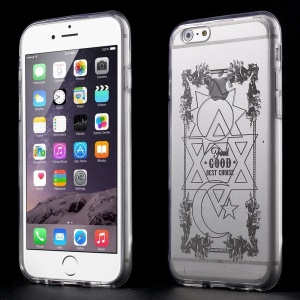 Geometric Pattern Clear Acrylic and TPU Edges Hybrid Cover Case for iPhone 6 Plus