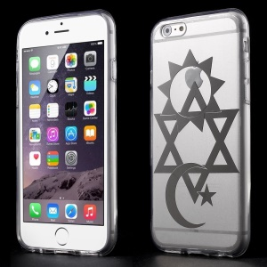 Star & Moon Clear Acrylic and TPU Edges Hybrid Cover Shell for iPhone 6 Plus