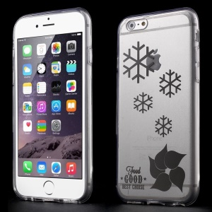 Snowflake Pattern Clear Acrylic and TPU Edges Hybrid Case Cover for iPhone 6 Plus