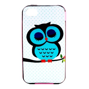For iPhone 4 4S PC Bumper and TPU Shell Case - Nap Owl