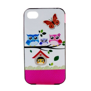 For iPhone 4 4S PC Bumper and TPU Combo Case - Owl Family and Butterfly
