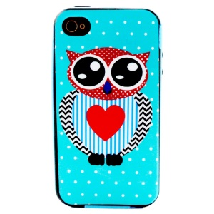 For iPhone 4 4S PC Bumper and TPU Combo Case - Owl with Red Heart