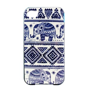 PC Bumper and TPU Combo Case for iPhone 4 4S - Tribal Elephants