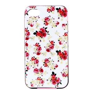 PC Bumper and TPU Hybrid Case for iPhone 4 4S - Red Peony Pattern