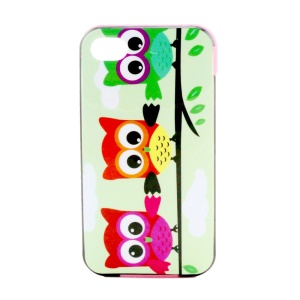 PC Bumper and TPU Hybrid Case for iPhone 4 4S - Three Owls on Branch