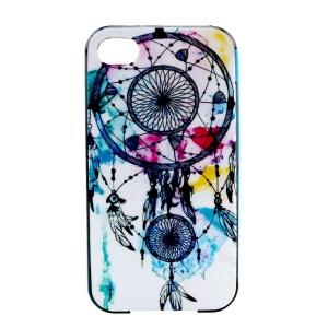 Plastic Rim and TPU Hybrid Case for iPhone 4 4S - Blue Dream Catcher
