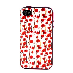 Plastic Frame and TPU 2-in-1 Back Shell for iPhone 4 4S - Red Flowers