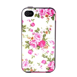 Plastic Rim and TPU 2-in-1 Case for iPhone 4 4S - Pink Rose Peony Pattern
