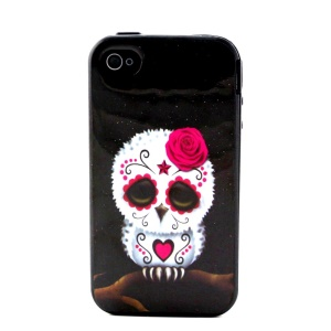 Plastic Frame and TPU 2-in-1 Back Shell for iPhone 4 4S - Sugar Skull Owl White