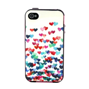 Plastic Frame and TPU 2-in-1 Back Case for iPhone 4 4S - Multiple Colorful Hearts