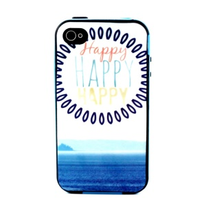 Plastic Frame and TPU 2-in-1 Back Case for iPhone 4 4S - Happy and Circles