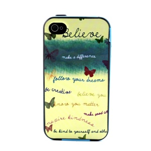 For iPhone 4 4S PC Frame and TPU Combo Case - Believe Quotes and Butterflies