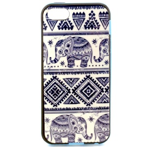 For iPhone 5s 5 Removable PC Frame + TPU Case - Tribal Elephant