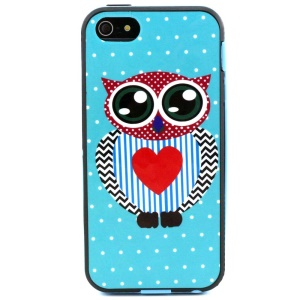 For iPhone 5s 5 Removable PC + TPU Case Cover - Polka Dots Mr Owl Heart