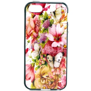 PC Frame + TPU Back Case for iPhone 5s 5 - Pretty Flowers and Butterflies