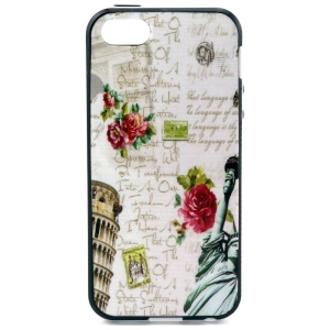 PC Frame + TPU Shell for iPhone 5s 5 - Leaning Tower of Pisa and Roses