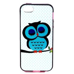Hybrid PC Frame + TPU Cover for iPhone 5s 5 - Green Sleepy Owl