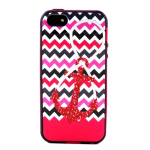 PC + TPU Hybrid Cover for iPhone 5s 5 - Chevron Stripes and Anchor