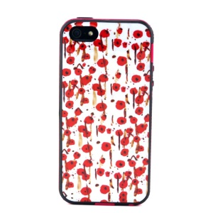 Removable PC + TPU Case Cover for iPhone 5s 5 - Red Flowers