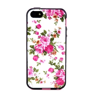 Removable PC + TPU Case Cover for iPhone 5s 5 - Elegant Peony