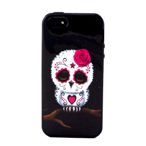 Removable PC + TPU Combo Cover for iPhone 5s 5 - Sugar Skull Owl