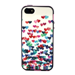 Removable PC + TPU Combo Cover for iPhone 5s 5 - Colored Hearts Painting