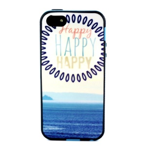 Removable PC + TPU Combo Case for iPhone 5s 5 - Blue Sea and HAPPY Word