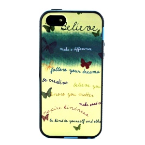 PC Frame + TPU Combo Case for iPhone 5s 5 - Butterflies and Quotes
