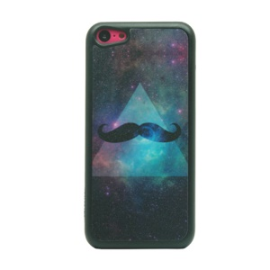 Triangle & Mustache Glittery Powder PC Case for iPhone 5c