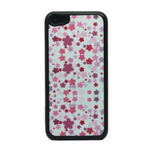 Floral Pattern Glittery Powder PC Protective Case for iPhone 5c