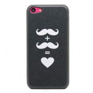 White Mustache and Heart Shape Glittery Powder PC Case for iPhone 5c