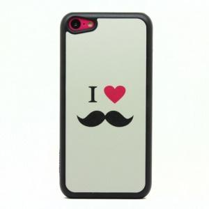 Glittery Powder PC Case for iPhone 5c - I Love Mustache