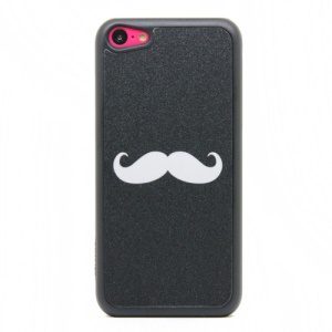 White Mustache Glittery Powder Hard Case for iPhone 5c