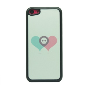 For iPhone 5c Flash Powder Plastic Protective Case - Skull and Two Heart Shapes