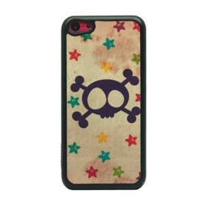 For iPhone 5c Flash Powder Plastic Phone Case - Skull and Stars