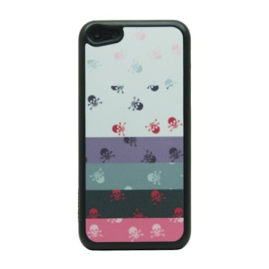 For iPhone 5c Flash Powder Plastic Phone Case - Little Skulls and Stripes