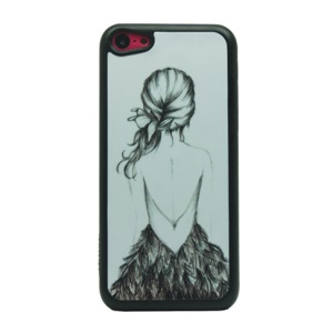 Sketch Girl Glittery Powder PC Phone Case for iPhone 5c