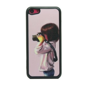 Shooting Girl Glittery Powder Hard Phone Cover for iPhone 5c