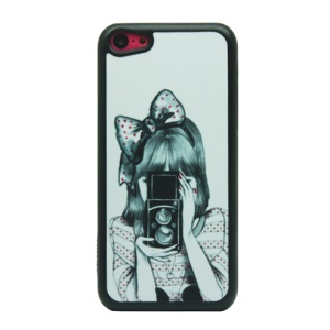 Bowknot Shooting Girl Glittery Powder Hard Phone Case for iPhone 5c