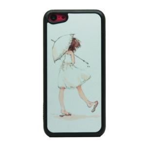 Girl Holding A Umbrella for iPhone 5c Glittery Powder Hard Case