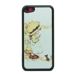 Baby and Cat Glittery Powder Hard Phone Case for iPhone 5c
