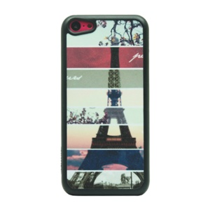 Glitter Powder Hard Shell Case for iPhone 5c - Stripes and Eiffel Tower